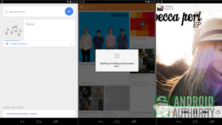 "Not sure what music to listen to, just ask Google Now on Android to ""play some music"""